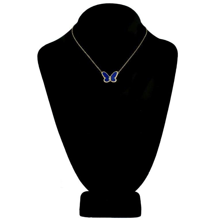 Women's Van Cleef & Arpels Diamond Lapis Lazuli Yellow Gold Butterfly Pendant Necklace For Sale