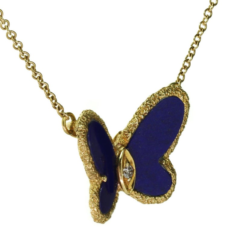 Van Cleef & Arpels Diamond Lapis Lazuli Yellow Gold Butterfly Pendant Necklace For Sale 1