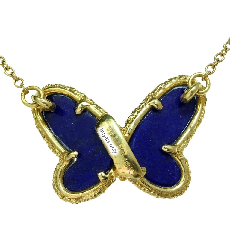 Van Cleef & Arpels Diamond Lapis Lazuli Yellow Gold Butterfly Pendant Necklace For Sale 2