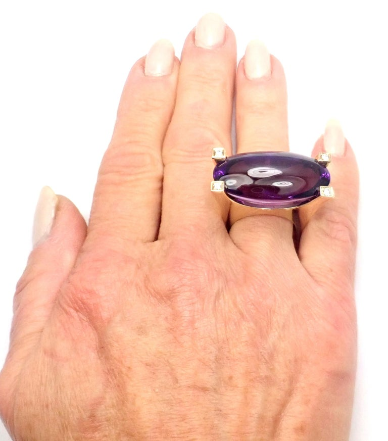 Van Cleef & Arpels Diamond Large Amethyst Yellow Gold Ring For Sale 5