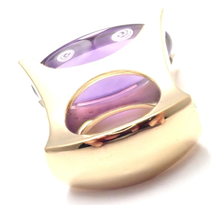 Van Cleef & Arpels Diamond Large Amethyst Yellow Gold Ring In Excellent Condition For Sale In Holland, PA