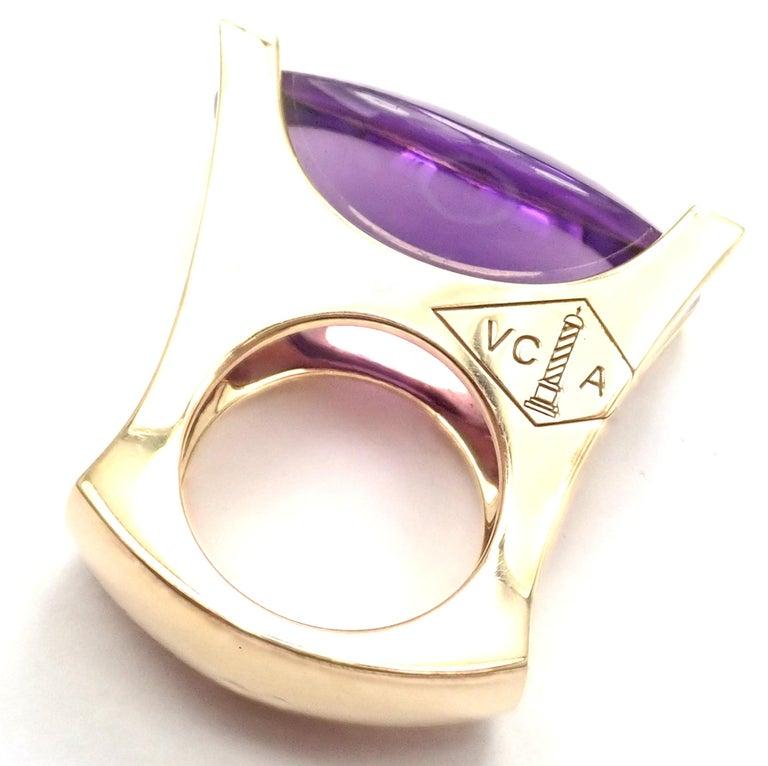 Women's or Men's Van Cleef & Arpels Diamond Large Amethyst Yellow Gold Ring For Sale