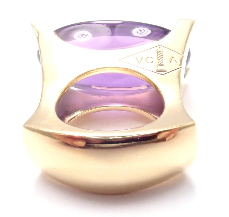 Van Cleef & Arpels Diamond Large Amethyst Yellow Gold Ring For Sale 3