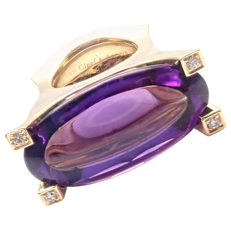 Van Cleef & Arpels Diamond Large Amethyst Yellow Gold Ring For Sale