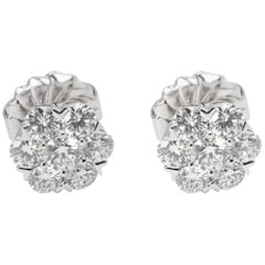 Van Cleef & Arpels Diamond Large Fleurette Earrings in 18 Karat Gold 1.25 Carat