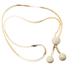 Van Cleef & Arpels Diamond Lariat Yellow Gold Long Link Necklace