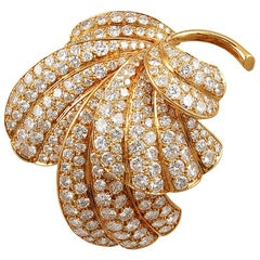 Van Cleef & Arpels Diamond Leaf Brooch