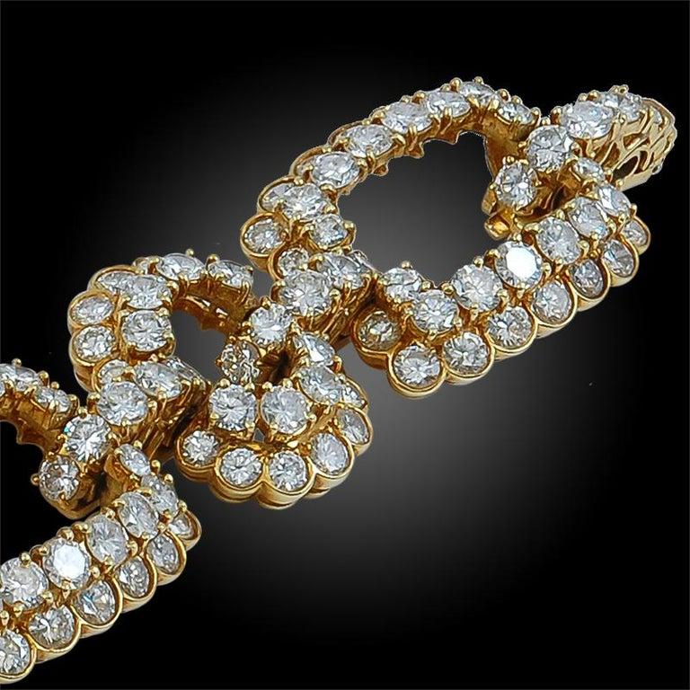 Van Cleef & Arpels Diamond Gold Link Bracelet For Sale 1