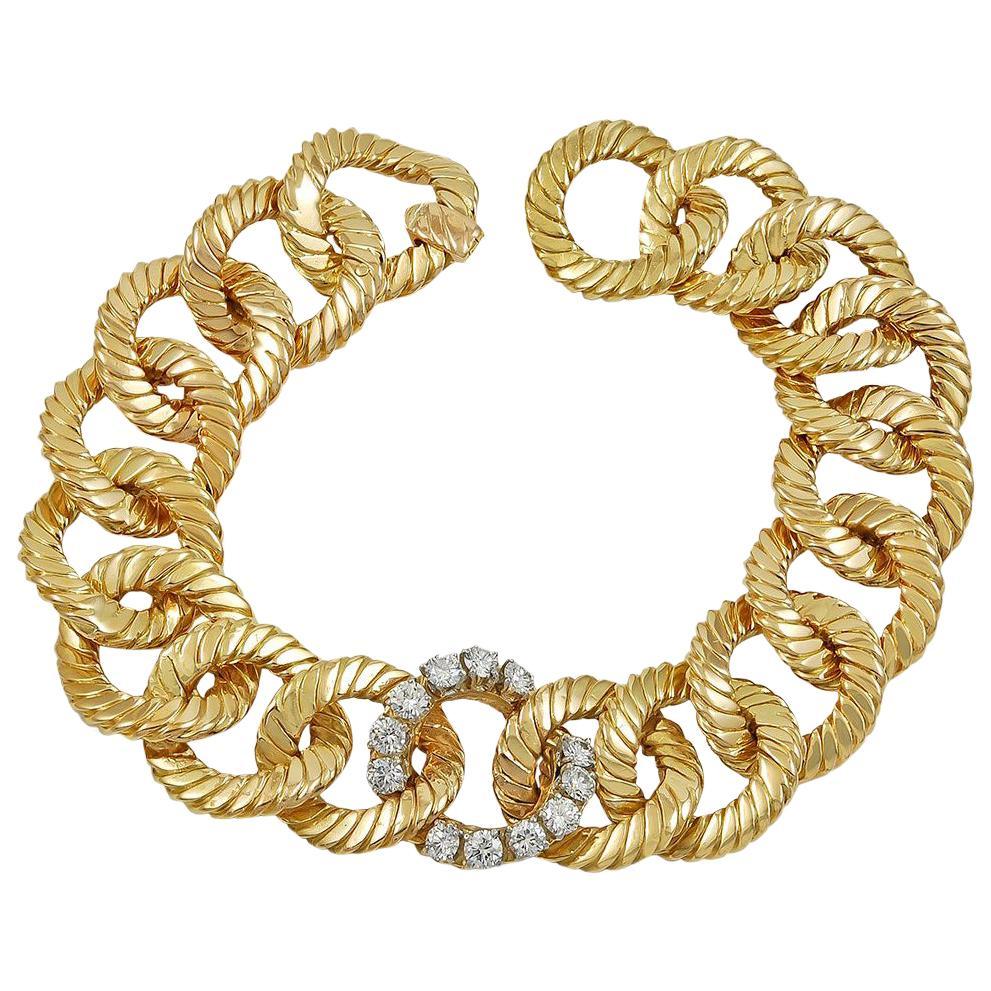 Van Cleef & Arpels Diamond Yellow Gold Link Bracelet