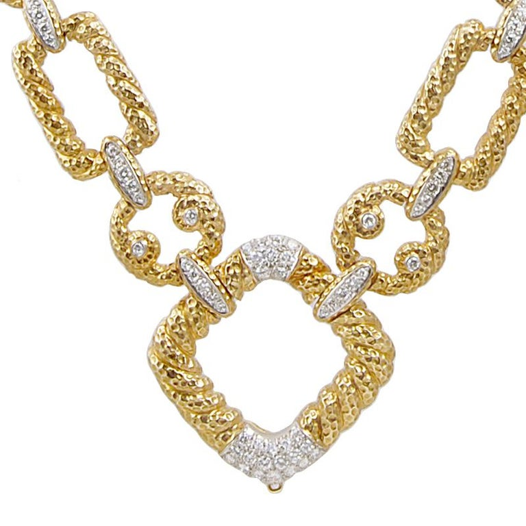 Van Cleef & Arpels Diamond Link Necklace In Good Condition For Sale In New York, NY