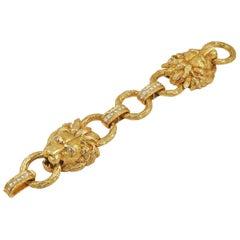 Van Cleef & Arpels Diamond Yellow Gold Lion Head Bracelet