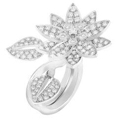 Van Cleef & Arpels Diamond Lotus Between the Finger Ring 18k White Gold