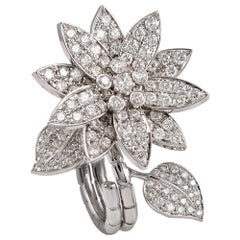 Van Cleef & Arpels Diamond 'Lotus' Between the Finger Ring