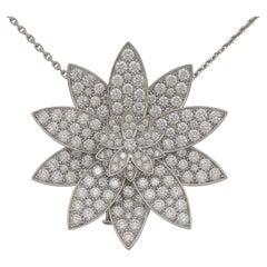 Van Cleef & Arpels Diamond Lotus Clip Pendant Necklace