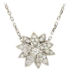 Van Cleef & Arpels Diamond Lotus in 18 Karat White Gold Necklace