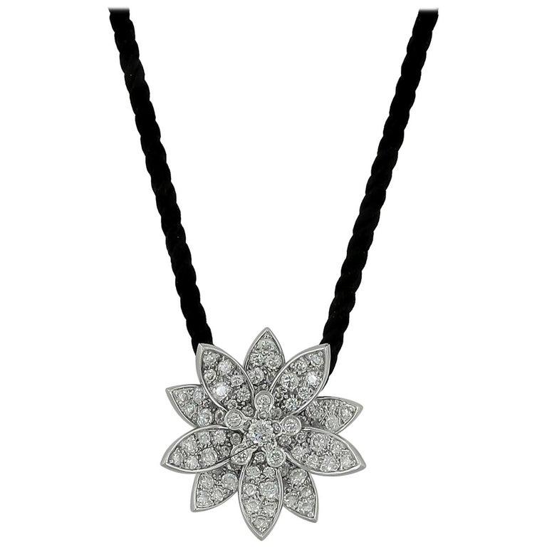Van Cleef & Arpels Diamond Lotus Necklace For Sale