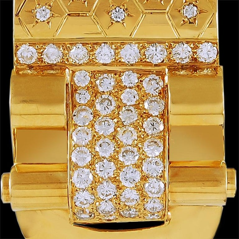 Rococo Van Cleef & Arpels Diamond Ludo Gold Clips For Sale