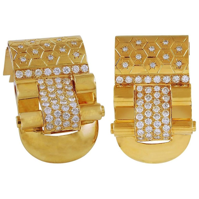 Van Cleef & Arpels Diamond Ludo Gold Clips For Sale