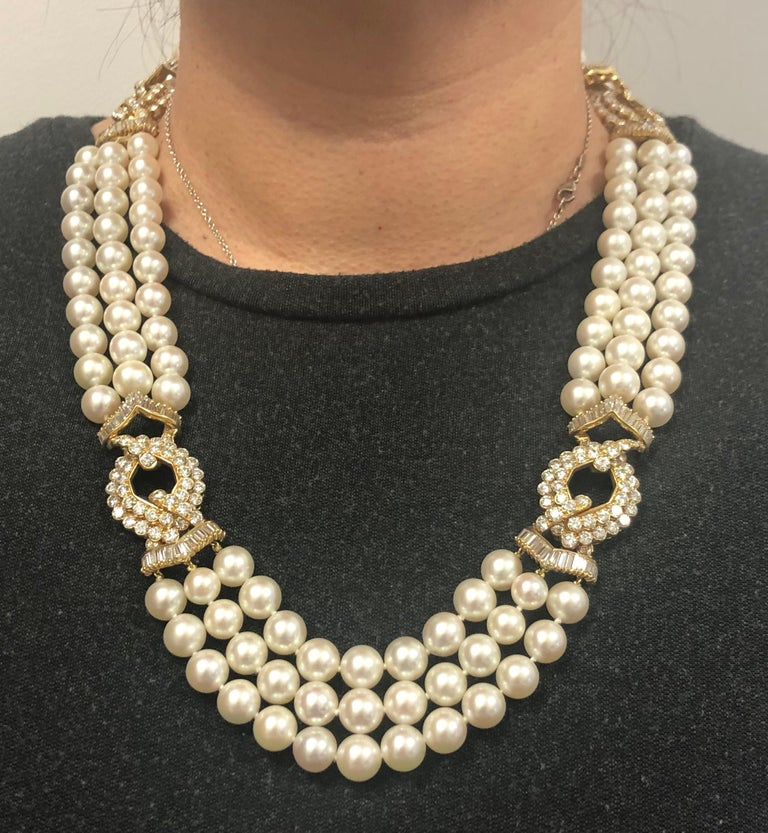 VAN CLEEF & ARPELS Diamond, Multi-Strand Pearl Necklace.  An 18k yellow gold necklace, set with diamonds and multi-strand of pearls Diamond weight approx. 30 carats total and pearls measures approx. 8.9 mm. Necklace measures approx. 22″ in