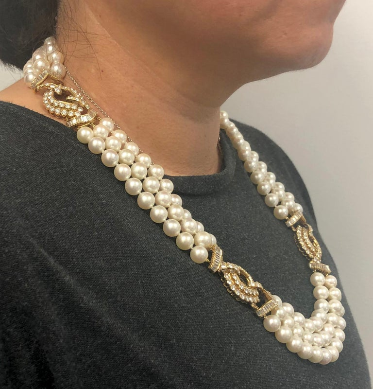 Round Cut Van Cleef & Arpels Diamond, Multi-Strand Pearl Necklace For Sale