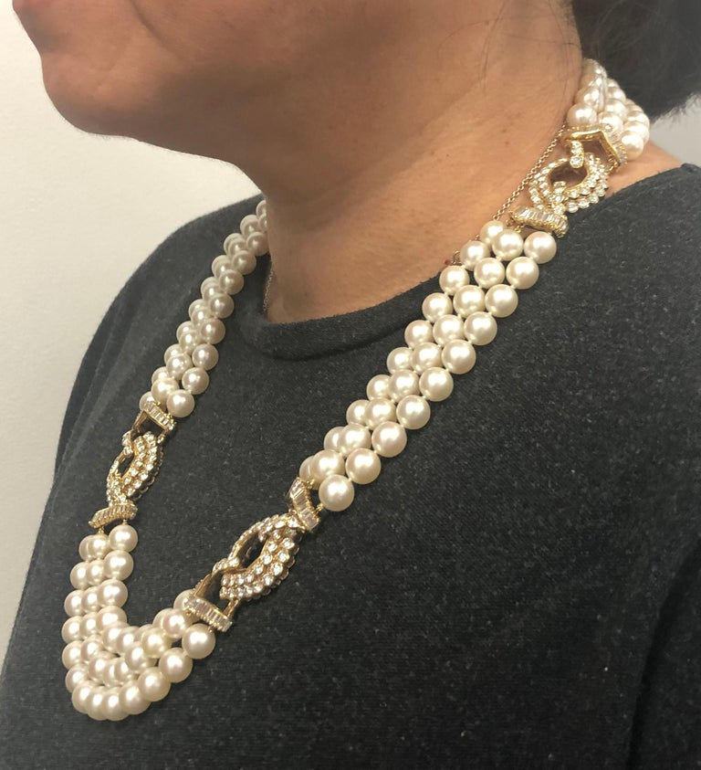 Van Cleef & Arpels Diamond, Multi-Strand Pearl Necklace In Good Condition For Sale In New York, NY