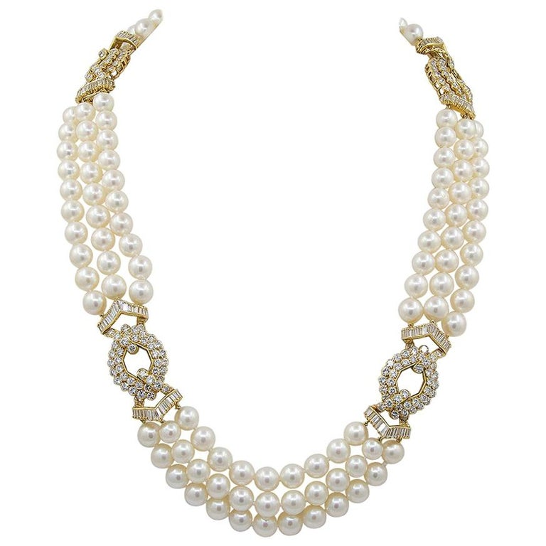Van Cleef & Arpels Diamond, Multi-Strand Pearl Necklace For Sale