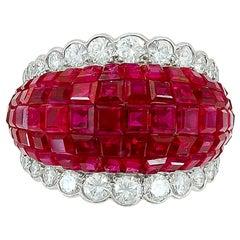 Van Cleef & Arpels Mystery-Set Ruby Diamond Dome Ring