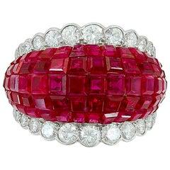 Van Cleef & Arpels Diamond, Mystery-Set Ruby Dome Ring