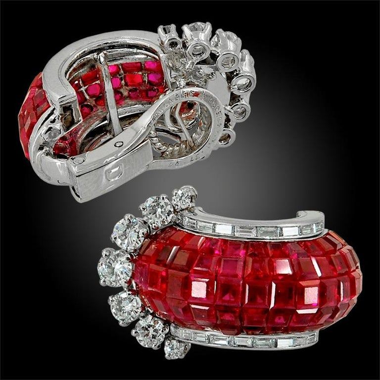 Van Cleef & Arpels Diamond, Mystery-Set Ruby Ear Clips In Good Condition For Sale In New York, NY
