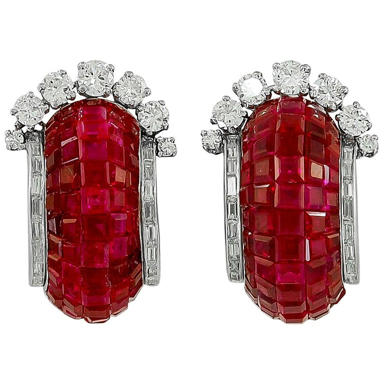 Van Cleef & Arpels Mystery Set™ Ruby Diamond Half Hoop Earrings For Sale