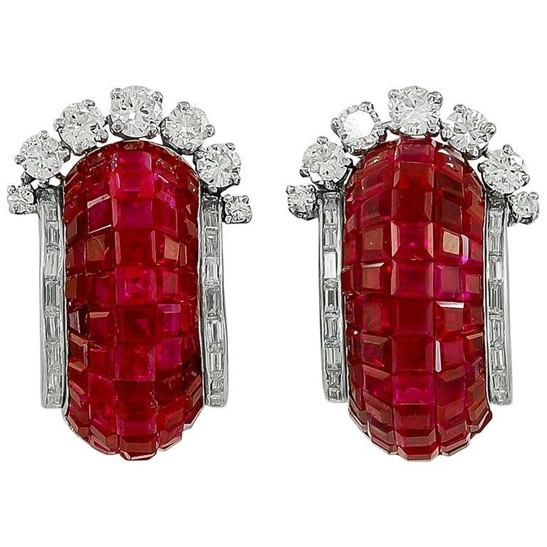 Van Cleef & Arpels Diamond, Mystery-Set Ruby Ear Clips For Sale