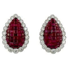 Van Cleef & Arpels Diamond, Mystery-Set Ruby Earrings