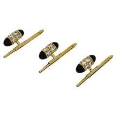 Van Cleef & Arpels Diamond Onyx 18 Karat Yellow Gold Stud Buttons