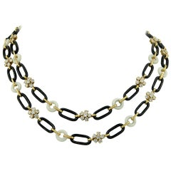 Van Cleef & Arpels Diamond, Onyx and Coral Necklace