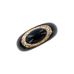 Van Cleef & Arpels Diamond Onyx Contemporary Dome Ring