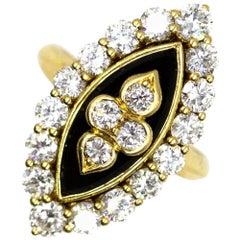 Van Cleef & Arpels Diamond Onyx Vintage Ring