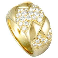 Van Cleef & Arpels Diamond Pavé 18 Karat Yellow Gold Band Ring