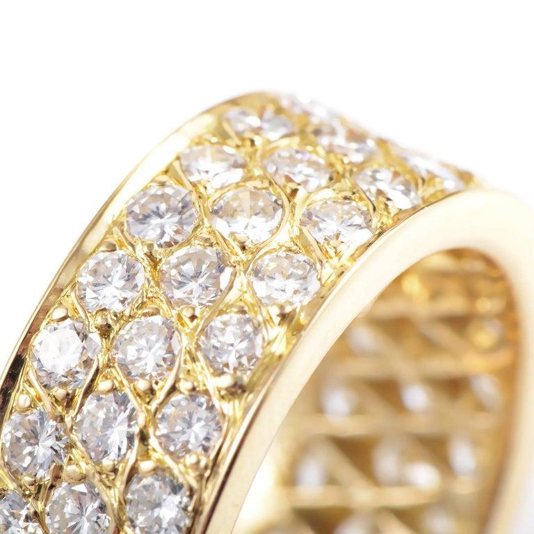 Women's Van Cleef & Arpels Diamond Pave 18 Karat Yellow Gold Eternity Band Ring For Sale