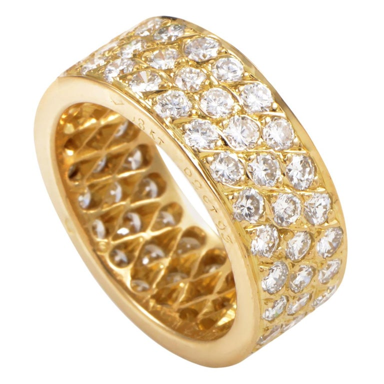Van Cleef & Arpels Diamond Pave 18 Karat Yellow Gold Eternity Band Ring For Sale