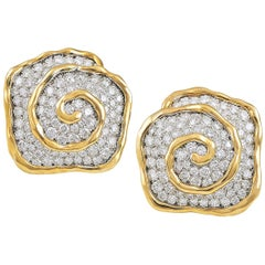 Van Cleef & Arpels Diamond Pave Abstract Earrings