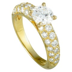 Van Cleef & Arpels Diamond Pave and Diamond Solitaire Yellow Gold Ring