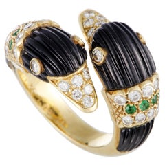 Van Cleef & Arpels Diamond Pavé, Emerald and Fluted Onyx Yellow Gold Swan Ring