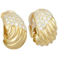 Van Cleef & Arpels Diamond Pave Ribbed Yellow Gold Wide Hoop Clip-On Earrings