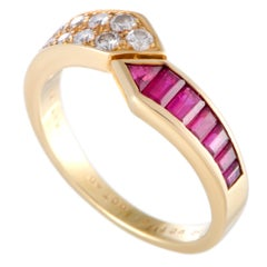 Van Cleef & Arpels Diamond Pave Ruby Invisible Setting Yellow Gold Band Ring