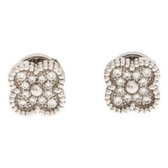 Van Cleef & Arpels Diamond Paved 18K White Gold Sweet Alhambra Earrings