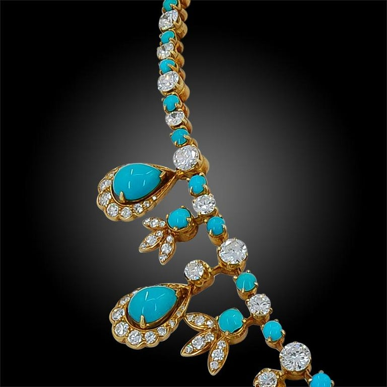 Exuding elegance and sophistication, this necklace by Van Cleef & Arpels was comprised in the 1950's, set with alternating diamonds and turquoise crafted in 18k gold.  Signed Van Cleef & Arpels.  Made in France