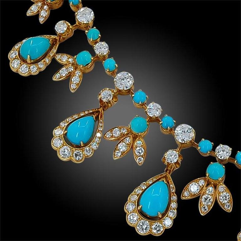 Round Cut Van Cleef & Arpels Paris Diamond Turquoise Necklace