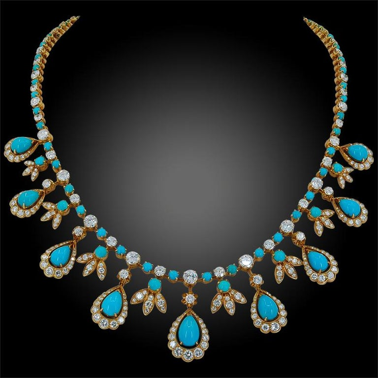 Van Cleef & Arpels Paris Diamond Turquoise Necklace In Good Condition In New York, NY