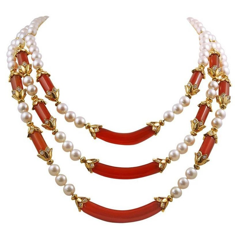 Van Cleef & Arpels Diamond, Pearl, Carnelian Necklace