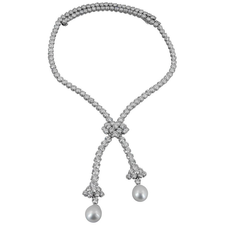 Van Cleef & Arpels Diamond, Pearl Detachable Necklace For Sale